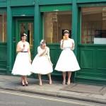 Indulgent bridesmaids: Three bridesmaids stopping for an ice cream.