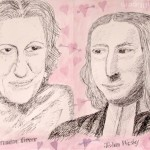 Greer & Wesley: The unlikely Valentine couple - The challenge for this evening's NPG Late Shift Draw was to create an unlikely valentines match. I opted for Germaine Greer and John Wesley and of course a time machine would also be required in order for them to get it together.