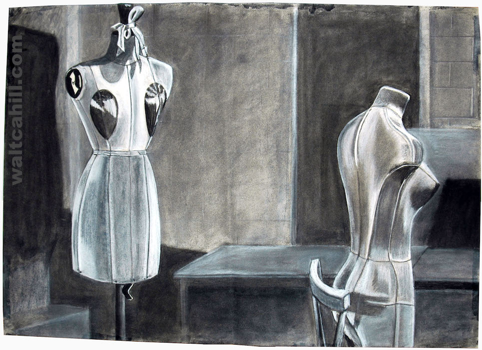 Mannequins (Manikins) rendered in charcoal