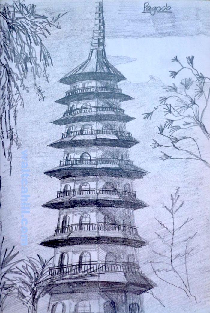The Pagoda in Kew Gardens (graphite)