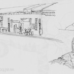 Welwyn Garden City station. I drew the station and continued to draw passengers after I got on the train. 20140400