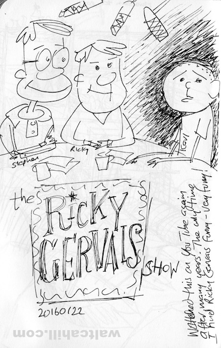 Drawn while watching The Ricky Gervais Show. Unlike many people I only find him funny in this show. 20160122