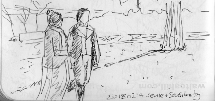Sense and Sensibility: Drawn while watching the film not long after the passing away of Alan Rickman. 20160214