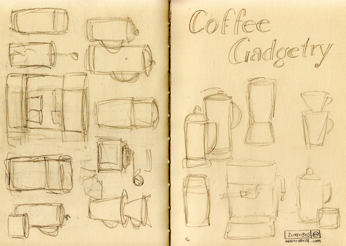 Coffee Gadgetry: Preparatory drawing