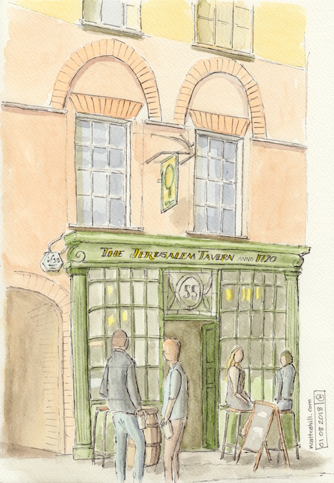 The Jerusalem Tavern in watercolour